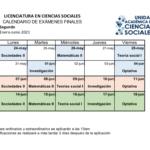 Calendario de exámenes enero-junio 2021